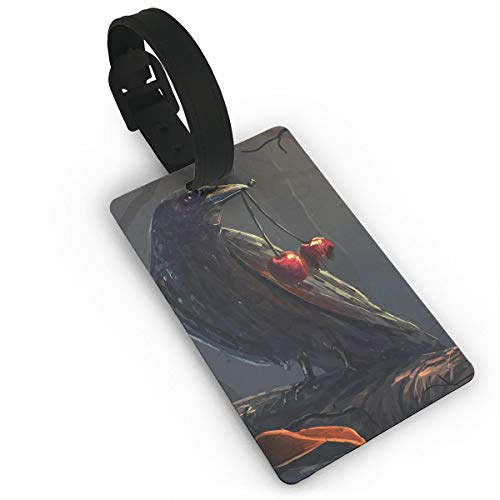 Diemeouk Luggage Tags for Suitcases Eagle Black Leaves