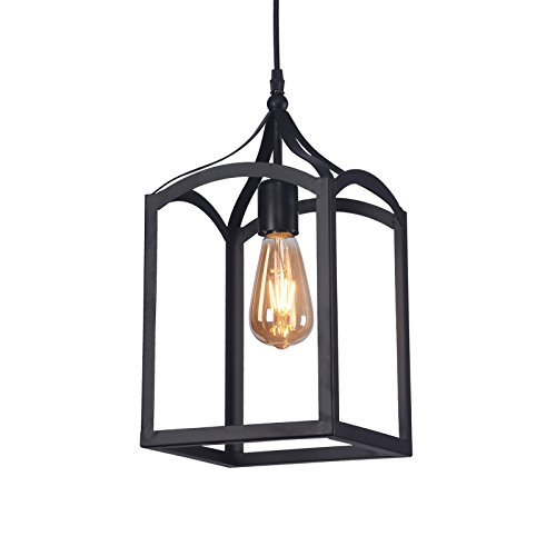 - Wideskall 1-Bulb Industrial Lantern Mini Pendant Lighting Fixture, 8-inch Metal Frame, Matte Black Finish