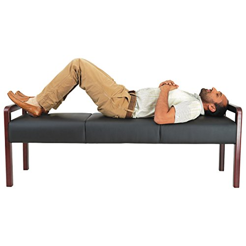 Alera ALERL2419M Reception Lounge WL Series Bench, 65 3/4 x 22 1/4 x 22 7/8, Black/Mahogany by Alera (Image #4)