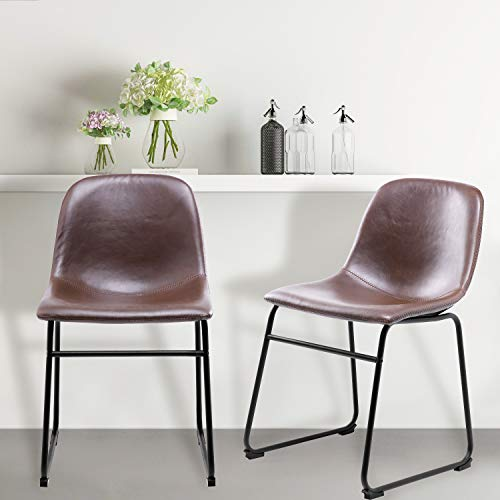 TAVR Dining Chairs with Back, Brown Modern Washable PU Leather Chairs for Dining Room, Kitchen, Living Room, Bedroom, Set of 2