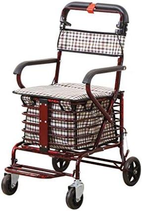 カート・ワゴン 年配のベビーカーのための歩行者は乗車ライト携帯用折る買物車を取ることができます (Color : Purple)