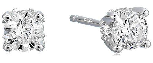 0.50 Carat Certified Diamond Stud Earrings, 14K White Gold (K-L Color, I1-I2 ()