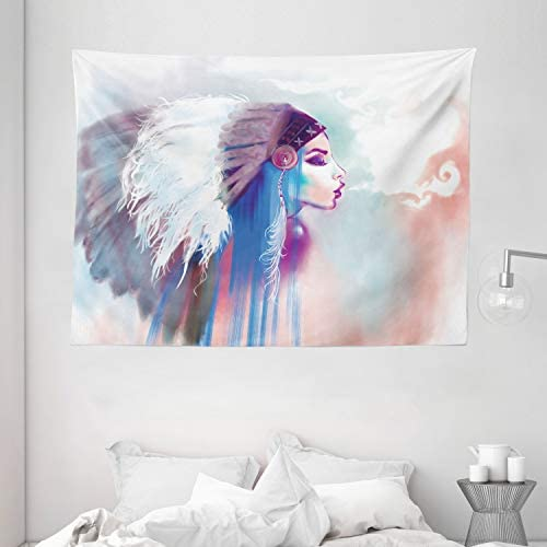 Ambesonne Tribal Tapestry, Girl Smoking Pipe with Traditional Clothes Abstract Watercolor Background, Wide Wall Hanging for Bedroom Living Room Dorm, 80 X 60 , Blue Salmon