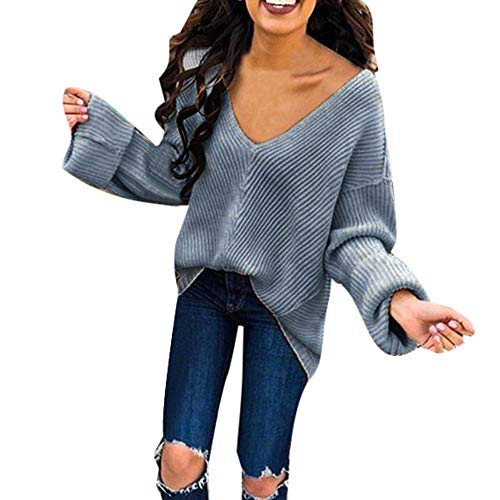 iFOMO Womens Autumn Loose Casual Solid Color Deep V Neck Plus Size Fall Knitted Pullover Sweater Tops (Navy,M)