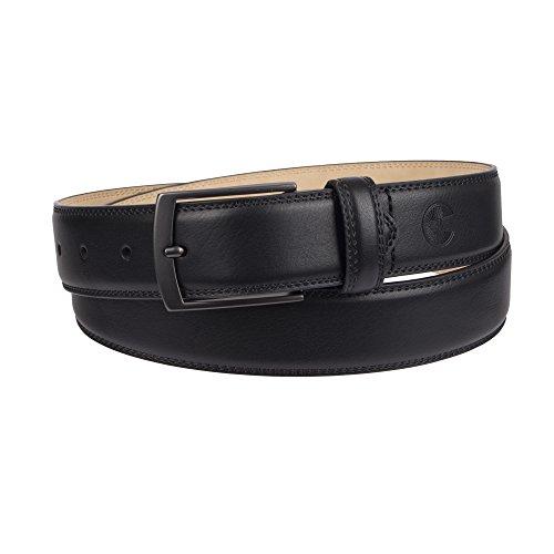 Big Leather - Weatherproof Men's Belt with Single Prong Buckle, Black/Gunmetal Buckle, 3X (50-52)