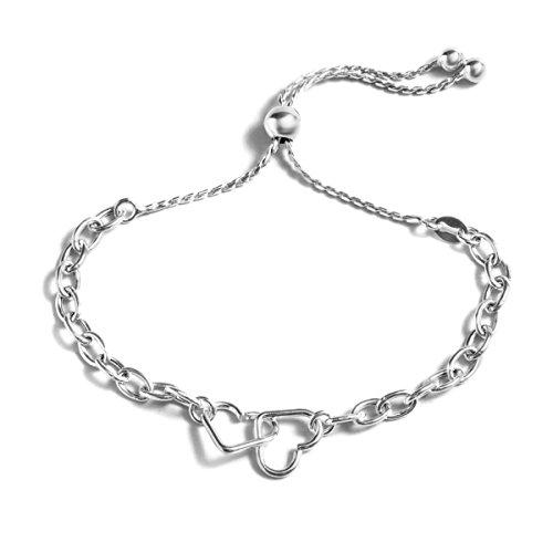 Pori Jewelry Twin Open Hearts Italian Sterling Silver Adjustable Bracelet Pouch Included