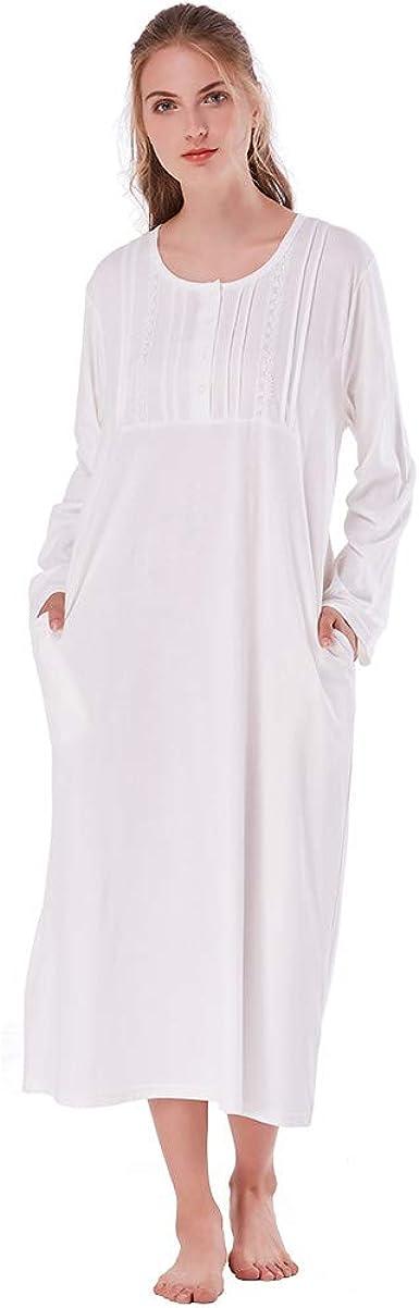 CONTARE V-Neck NIGHT SHIRT 100/% COTTON Pyjamas PJs Sleepwear Nightie Gown