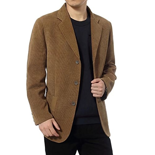 Men's Blazer Jacket Corduroy Casual Business Sport Coat Smart Formal Dinner Cotton Jacket Slim Fit Notch Lapel Outwear Khaki Large