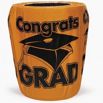 Orange Congrats Grad Graduation Trash Can Cover Party Supplies
