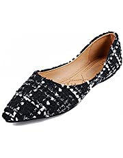 1242e2aba6130 Meeshine Womens Classic Pointy Toe Ballet Flats Slip On Plaid Dress Flat  Shoes