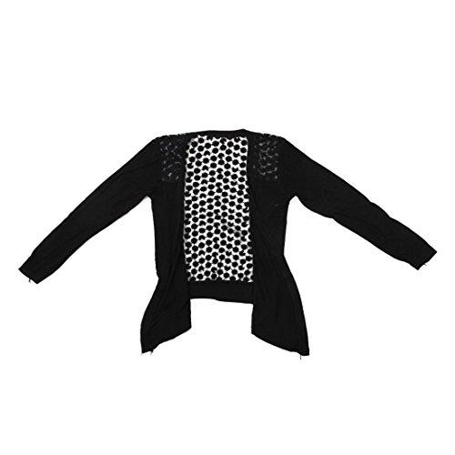 SODIAL(R) 2013 Femmes Dentelle Bonbon Sucre Crochet Tricot Top Cardigan Chemise a Manches Longues Noir Taille Unique