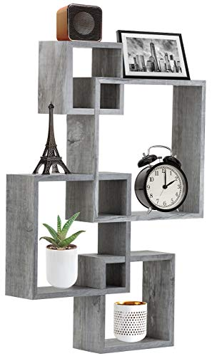 Sorbus Floating Shelf Square Interlocking Cubes with 4 Openings — Decorative Wall Shelves Hanging Display for Photo Frames, Collectibles, and Home Décor (Grey White)