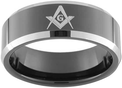 8mm Black Tungsten Carbide Bevel Ring Masonic Compass & Square (full & half sizes 5-15)