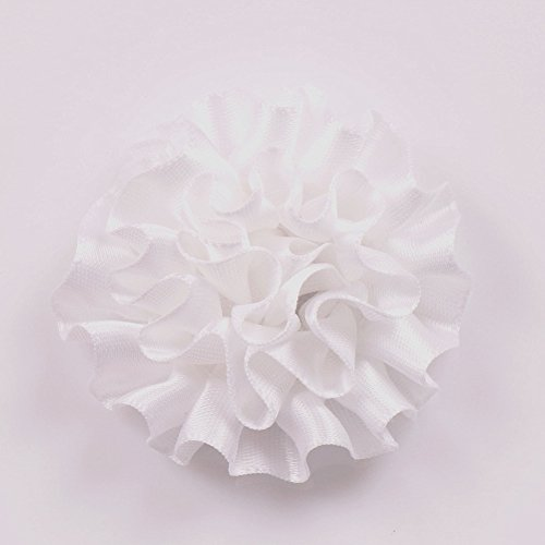 - YAKA 26Pcs 2.1inch Polyester Ribbon Handmade Cabbage Flowers Wedding Decoration Appliques DIY Project Craft (White)