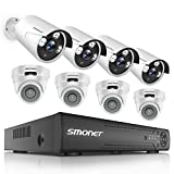 【2019 New】 HD Security Camera System Outdoor,SMONET 8-Channel Home Security System(1TB Hard Drive),8pcs Outdoor/Indoor Security Cameras,Surveillance Camera System with Night Vision,Plug&Plug,Free APP