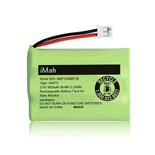 iMah 3.6V 900mAh Ni-MH Battery Compatible with Motorola Digital Baby Monitor MBP33PU MBP36PU (Compare Connector Type) GPRHCH93C021 Summer Infant Monitor 29030-10 29600-10 28650 29000 29040 29890 36004