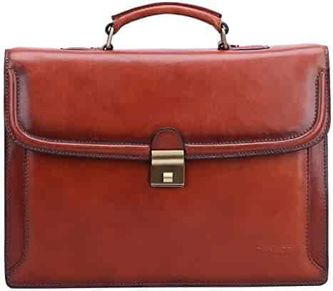 Banuce Vintage Full Grain Italian Leather Briefcase for Men Handbags Lawyer Business Bag Attache Case with Lock Messenger Tote 14 Inch Laptop Bag