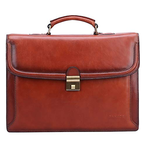 Banuce Vintage Full Grain Italian Leather Briefcase for Men Business Tote Lock Lawyer Attache Case 14