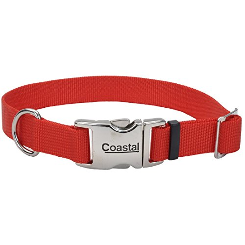 Coastal Pet Products Nylon Adjustable Dog Collar with Metal Buckle, 1-Inch, Red ()