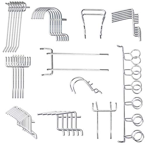 Yoodelife Metal Peg Board Hooks Heavy Duty Tools Organizer Assortment Shelving Hooks for Wall White Pegboard Pack, 50 Pcs by Yoodelife