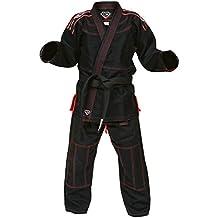 Kids Black Gi Uniform Set by KO Sports Gear - 100% Cotton Pearl Weave - For Brazilian Jiu-jitsu - Kimono and Pants