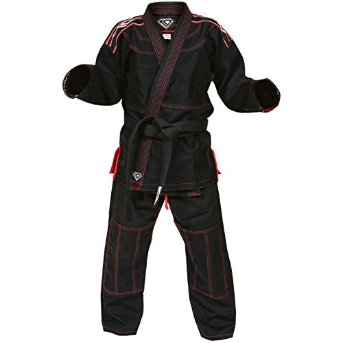 Black-Gi-by-KO-Sports-Gear--100-Cotton-Pearl-Weave-Gi-KOmpetition-Series-BJJ-Jiu-Jitsu-Kimono-and-Pants