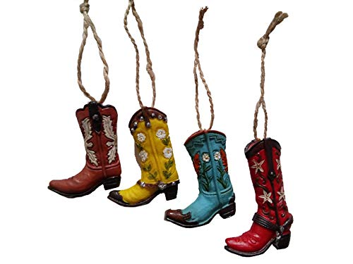 "S.Star Resin Cowboy Boot Ornaments - 2.5"" 4 pc. Multi - Color"