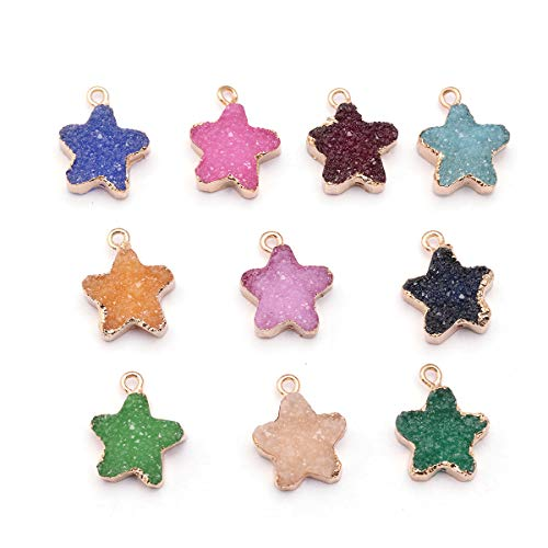 - Tiparts 10pcs Faux Druzy Quartz Crystal Jewelry Pendant Star Resin Stone Fit for Charms Jewelry Bracelet Accessories(Star)