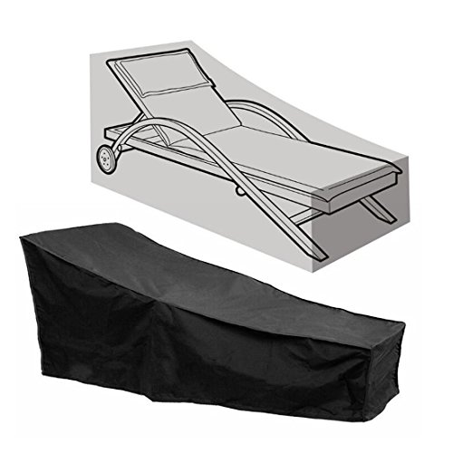 FLR Black Chaise Lounge Chair Cover Waterproof Dust-Proof Patio Chaise Covers Protection for Garden Yard Outdoor Furniture Recliner Cover