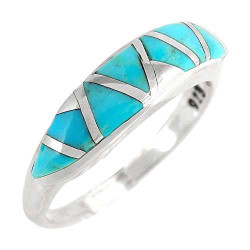 (925 Sterling Silver Stackable Ring with Genuine Turquoise Sizes 6 to 11)