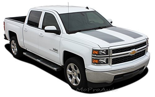 MoProAuto Pro Design Series Rally 1500 : 2014 2015 Chevy Silverado Rally Edition Style Hood and Tailgate Racing Vinyl Graphic Decal Stripes (FITS Silverado Models ONLY) (Color-3M 5095 Matte Black)