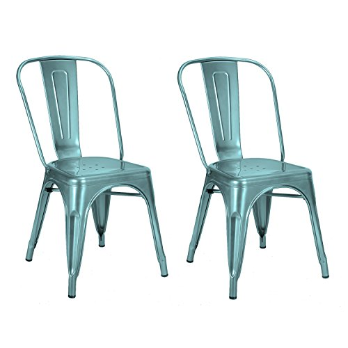 Asense 33 inch Metallic Paint Tolix Style Dining Chair(Set of Two) (Light Blue)