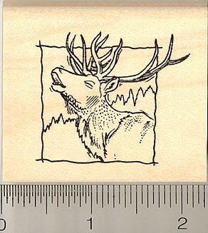 Elk Square Rubber Stamp - Wood Mounted