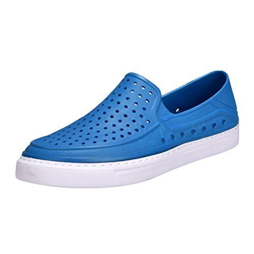 Hommes Et De Chaussons Loisirs Mer Perforé Mules Bleu Chaussures Sabots Pour Respirant Trou lin D'été Plage Sandales Dy B0F66