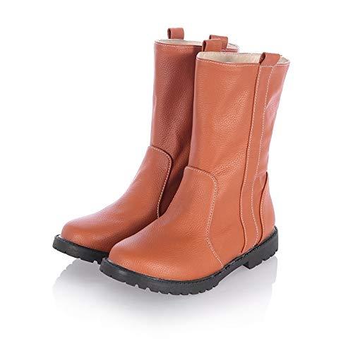 Brown US6.5-7   EU37   UK4.5-5   CN37 Brown US6.5-7   EU37   UK4.5-5   CN37 Women's Slouch Boots PU Elastic Fabric Fall & Winter Preppy Boots Flat Heel Round Toe Mid-Calf Boots Beige Yellow   Brown