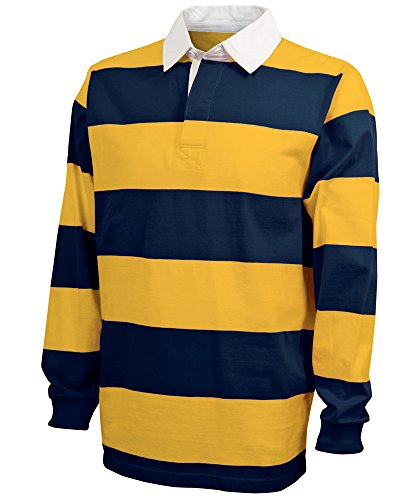 Charles River Apparel Unisex-Adult's Classic Rugby Shirt, Navy/Gold, XL ()