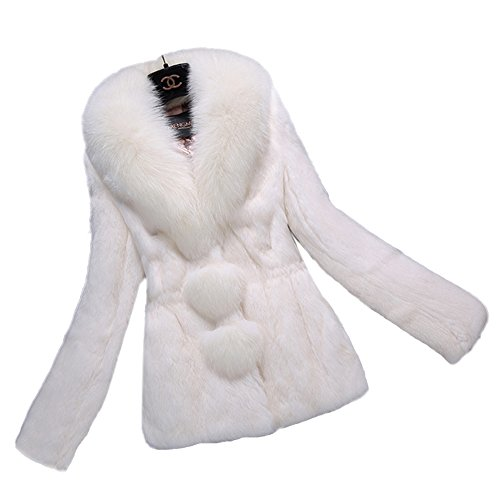 Queenshiny New Women's 100% Real Rabbit Fur Coat Jacket with Fox Collar-Beige-M(8-10)