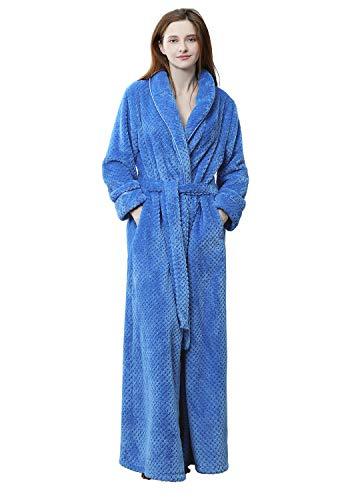 eece Robe Warm Waist Belt Super Soft Spa Plush Full Length Bathrobe with Shawl Collar (Small/Medium, Blue) ()