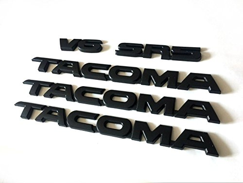 5pcs Sets Black Tacoma V6 Sr5 Trunk Door Tailgate Decal Emblem Sticker Badge
