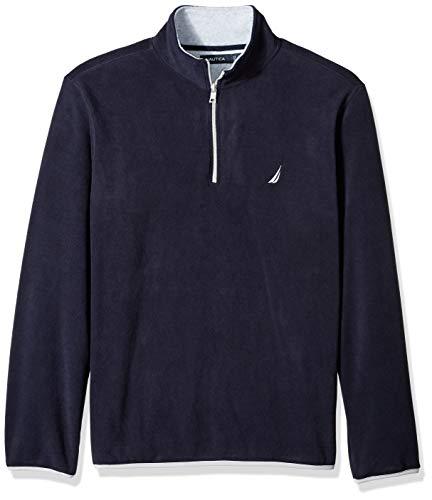 (Nautica Men's Polar Fleece 1/4 Zip Back Neck Logo Sweatshirt, Navy, Large)