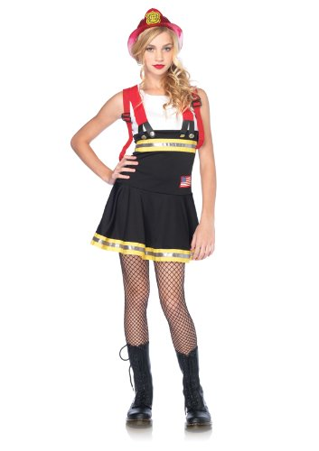 Leg Avenue Juniors Sweetheart Firefighter Suspender Dress With Reflective Trim, Black/White, (Mens Sexy Firefighter Costume)