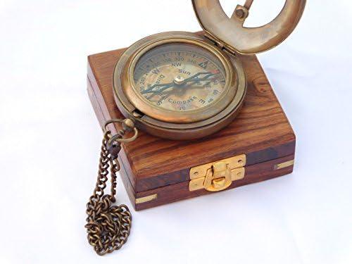 NEOVIVID Nautical Brass Sundial Compass with Chain Wooden Case