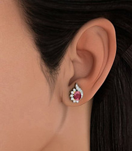 14 K Or jaune 0,33 CT TW White-diamond (IJ | SI) et rubis Boucles d'oreille à tige