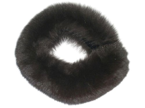 5-5.5 inches Wide Dyed Black Fox Funnel Collar & Oversize Neck Warmer Loop