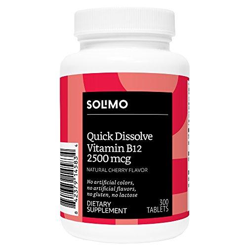 Amazon Brand - Solimo Quick Dissolve Vitamin B12 2500mcg, Natural Cherry Flavor, 300 Tablets, Ten Month Supply