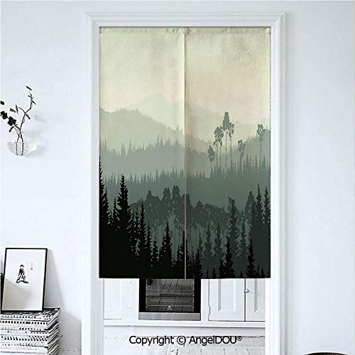 AngelDOU Apartment Decor Japanese Noren Half Open Cotton Linen Door Curtain The Panorama of a Valley and a Mystic Forest of Pine Trees Hanging Doorway Drape Valance. 33.5x47.2 inches