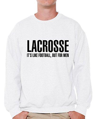 Awkward Styles Men's Lacrosse It`s Like Football But for Men Sweatshirt Crewneck Sport White 4XL ()