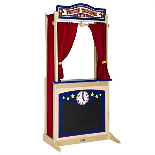 Guidecraft Wooden Floor Puppet Theater for Kids: Includes Chalkboard, Curtains, Clock and Interchangeable Signs - Toddler Dramatic Play