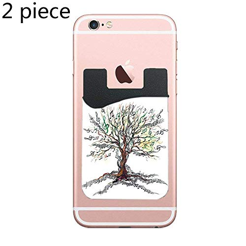 Cusomcardphone Musical Tree Autumn Clef Trunk Swirl Nature Illustration Leaves Creative Design Decorative Cell Phone Stick On Wallet Card Holder Phone Pocket for All Smartphones - 2 Piece ()