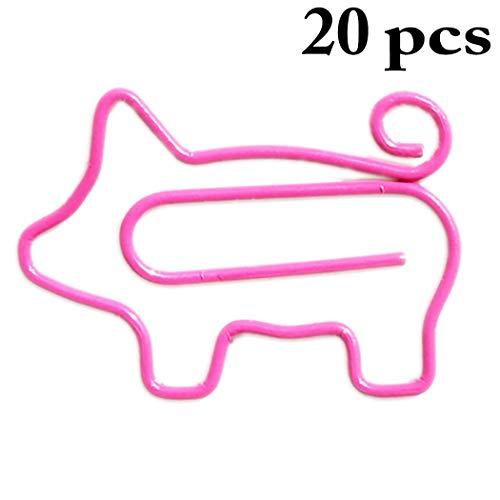 Justdolife 20PCS Paper Clips Cartoon Pig Designed Metal Paper Clips Bookmark Clips for $<!--$4.98-->